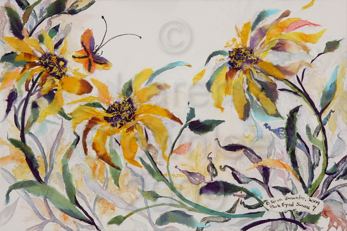 Black-Eyed Susans #1, 2009.  Watercolour & Chigiri-e.