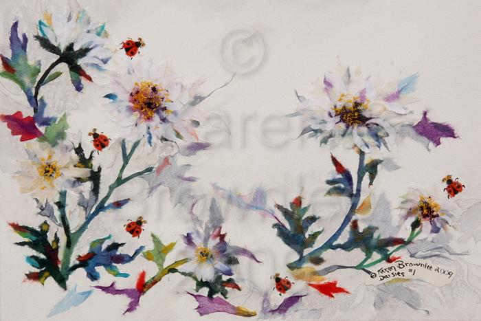 Daisies #1, 2009. Watercolour & Chigiri-e