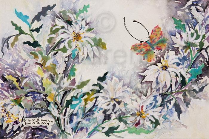 Daisies #2, 2009. Watercolour & Chigiri-e.