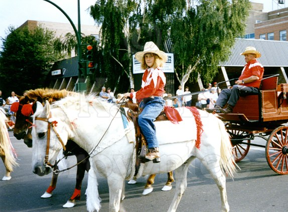 """Karen's daughter Robyn (outrider on Pokey), and her father, Mike Hazuda (""""Big Mike"""")"""